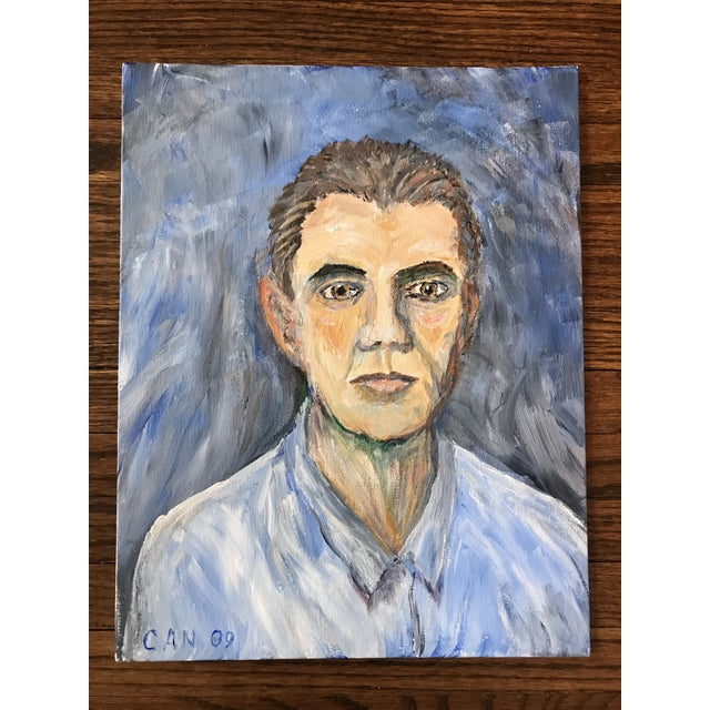 2000 - 2009 Hand Painted Portrait of a Man For Sale - Image 5 of 5