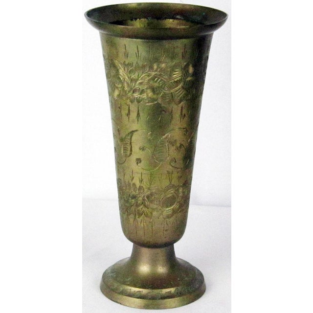 Over 65 years old vintage 16 inches tall solid brass Indian vase. Size: 10X5 inches. Country of origin: India.