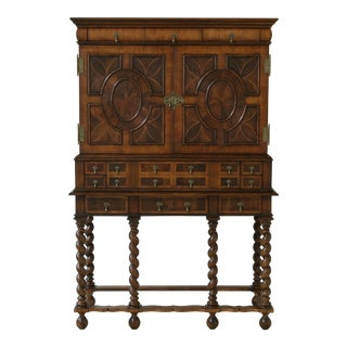 Johnathan Charles English Design Inlaid Walnut Bar Liquor Cabinet For Sale