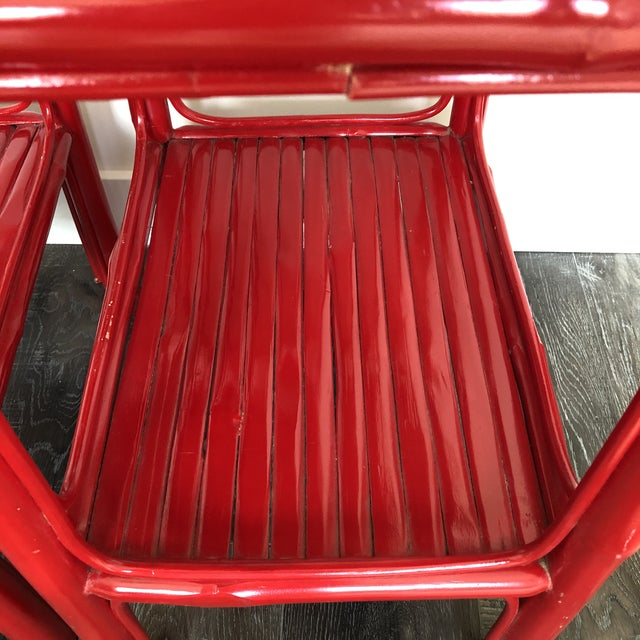 Wood Serena and Lily Red Lacquered Side Tables - a Pair For Sale - Image 7 of 9