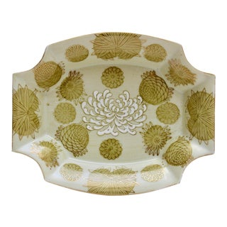 Yellow Chrysanthemum Porcelain Dish For Sale