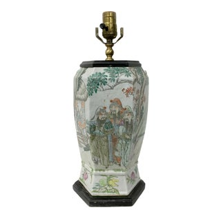 Chinese Vintage Famillie Rose Vase Lamp For Sale