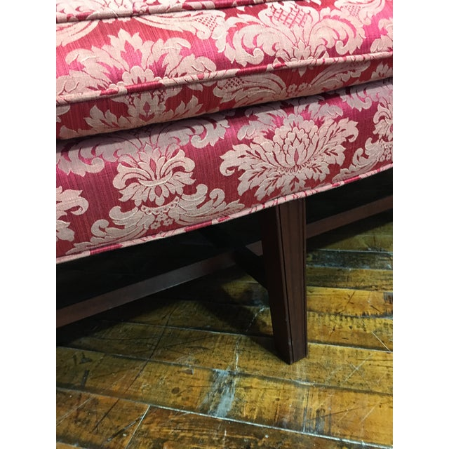 Late 20th Century 20th Century Red Damask Camelback Sofa For Sale - Image 5 of 7
