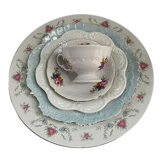 Mismatched Pink & Blue Porcelain Floral Dinnerware - Set of 5 For Sale