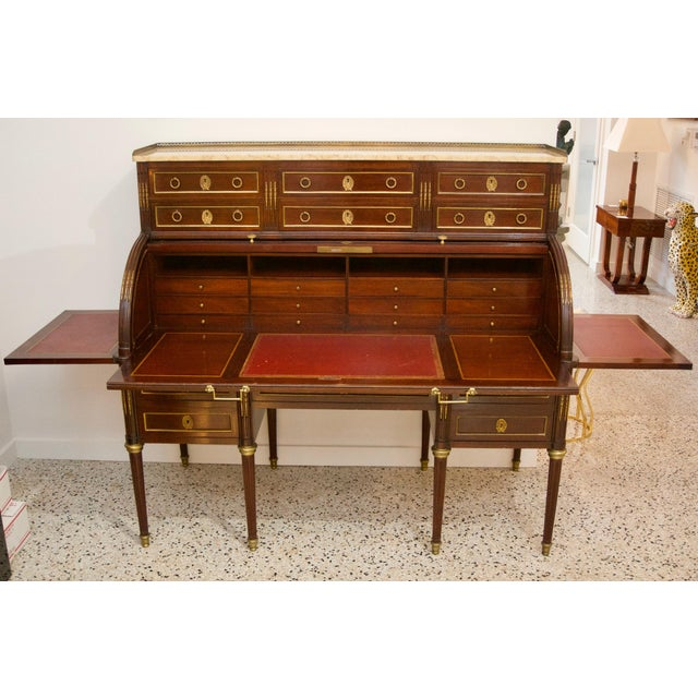 French Directiore Style Mahogany Roll Top Desk For Sale - Image 12 of 13