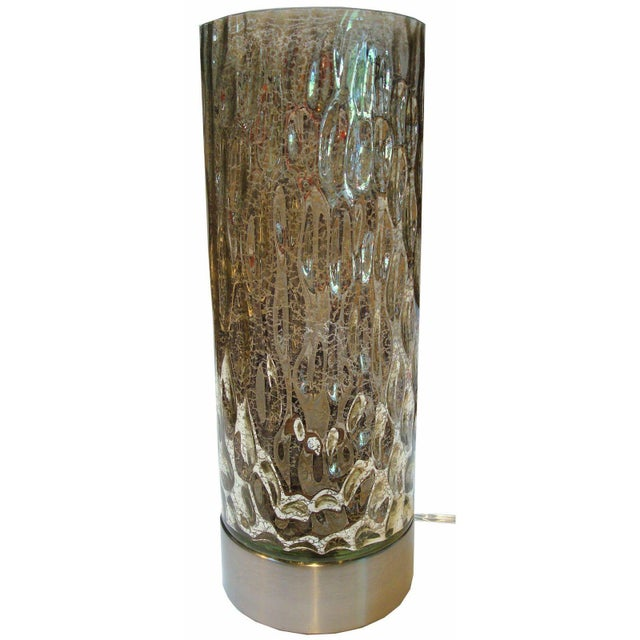 Modern Textured Metallic Glass Table Lamp - Image 1 of 6