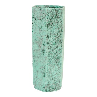 Sea Green Lava Foam Mid Century Vase For Sale