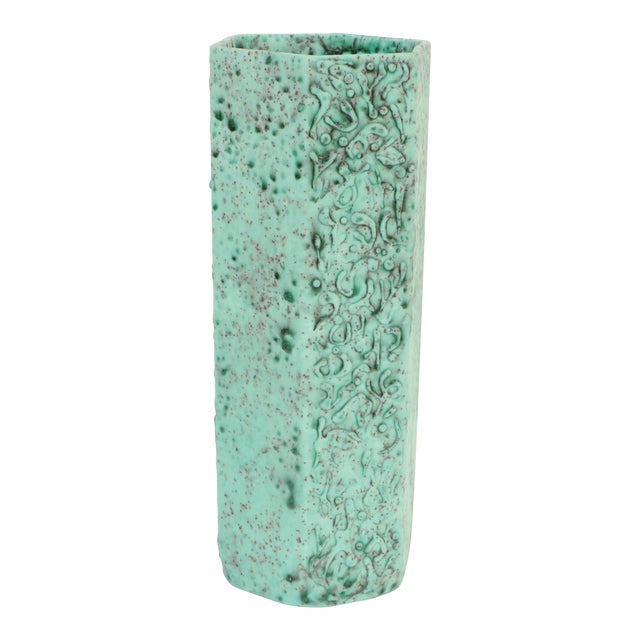 Sea Green Lava Foam Mid Century Vase For Sale