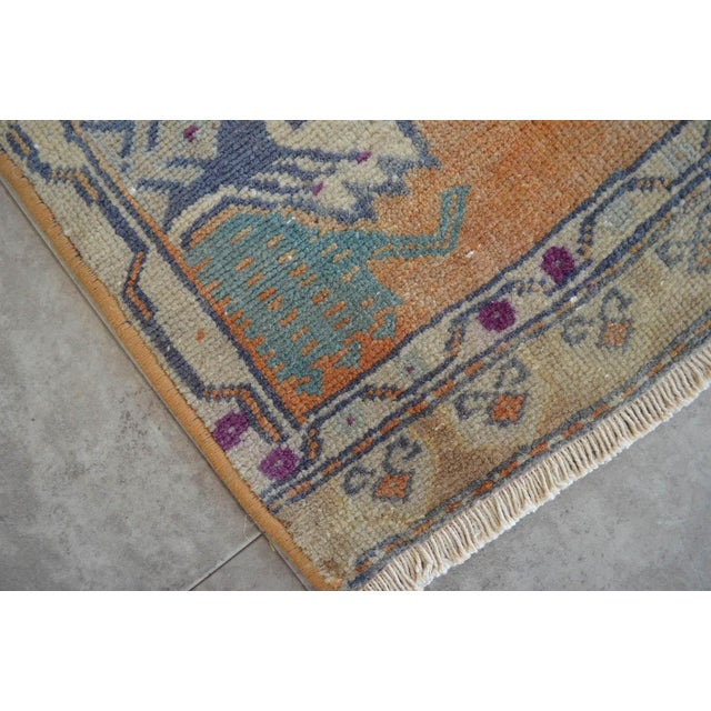 Boho Chic Distressed Low Pile Turkish Yastik Petite Rug Hand Knotted Faded Mat - 21'' X 45'' For Sale - Image 3 of 4