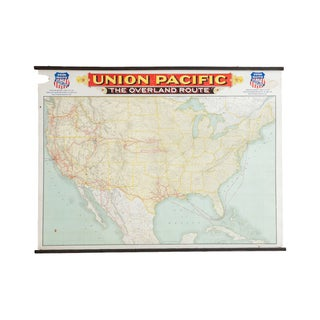 Antique Railroad Canvas Map For Sale