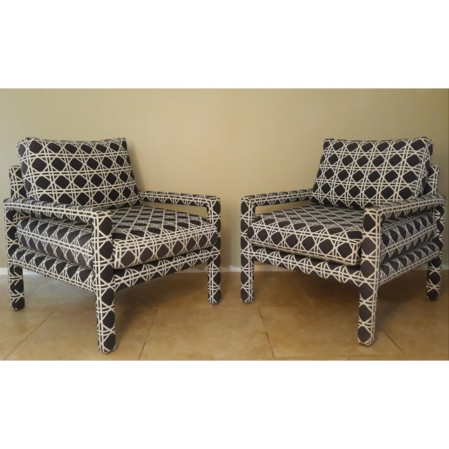 Mid Century Parsons Op Art Crossed Rope Design Black & White Upholstered Club Chairs - a Pair For Sale - Image 12 of 12