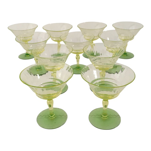 Green Vaseline Champagne Glasses - Set of 11 For Sale