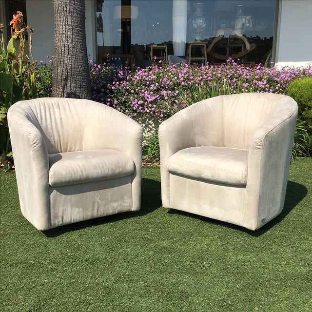 Italian Natuzzi Barrel Swivel Chairs - a Pair For Sale - Image 3 of 11