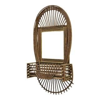 Adirondack Folk Art Large Twig Branch Wall Shelf Planter Pocket Mirror Art Frame For Sale