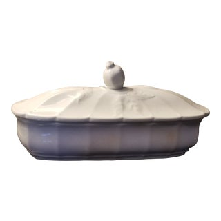 Antique English White Staffordshire Covered Butter Dish For Sale