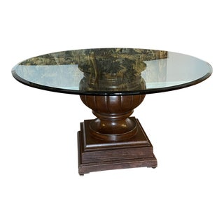 1980s Traditional Wood and Glass Dining Table For Sale