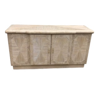 1980s Tessellated Travertine Credenza With Reed Inlay For Sale