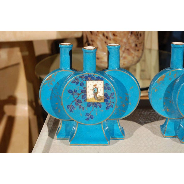 """Aesthetic Movement French Aesthetic """"Triple"""" Blue Pottery Vases - a Pair For Sale - Image 3 of 8"""