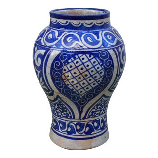 Blue Moroccan Ceramic Vase For Sale