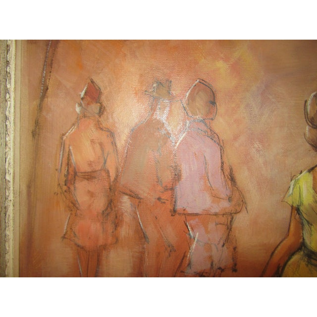Illustration 1960s Oil Painting of Fashion Paris Scene With Female Dressed in Yellow Dress For Sale - Image 3 of 8