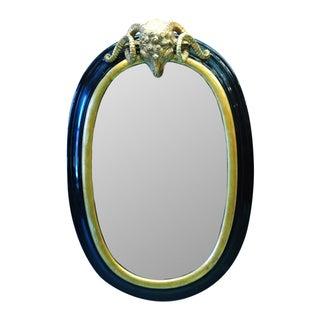 Ebonized Gilt Carved Ram Head Mirrors - A Pair