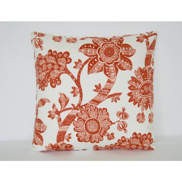 2000s Contemproary Jacobean Burnt Red and White Floral Print Pillow For Sale - Image 5 of 5