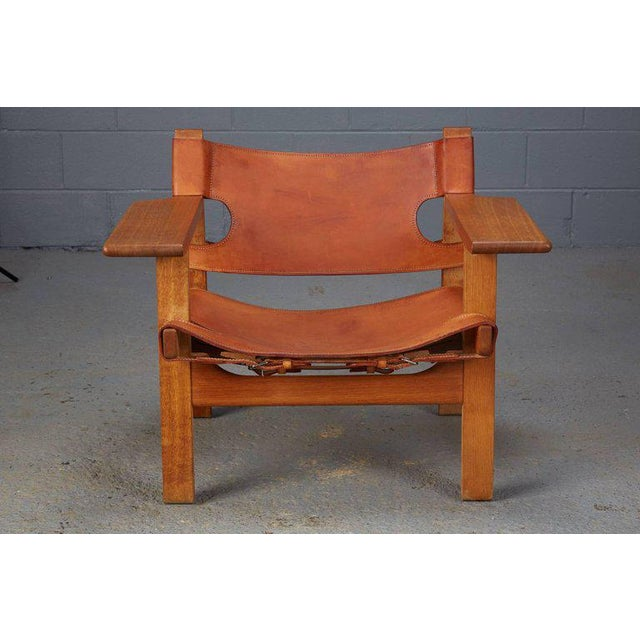 Brown Pair of Spanish Chairs by Børge Mogensen for Fredericia Furniture For Sale - Image 8 of 12