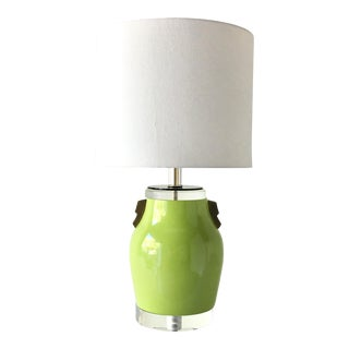 Single Lime Green Glazed Ceramic Table Lamp 1980s For Sale
