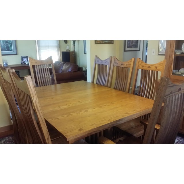 Solid Quatersawn Oak Mission-Style Dining Set - Set of 9 For Sale In Milwaukee - Image 6 of 13