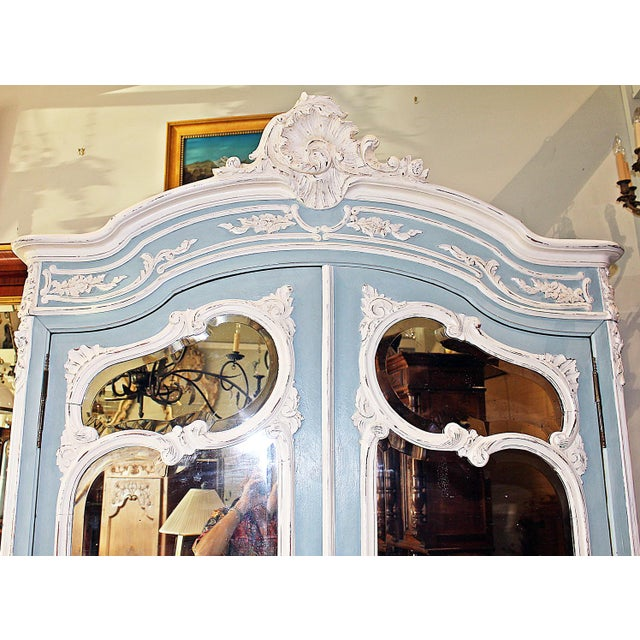 French 19th Century French Country Painted Armoire For Sale - Image 3 of 13