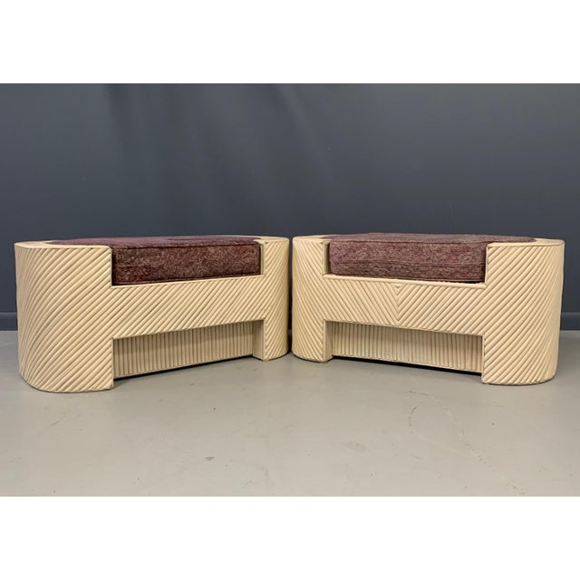 For your consideration, a pair of bamboo seats or benches with a recessed upholstered seat. These seats have an ivory...