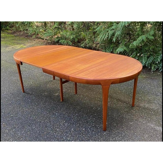 Vintage Ib Kofod Larsen Danish Mid Century Teak Round to Oval Dining Table For Sale In Seattle - Image 6 of 6