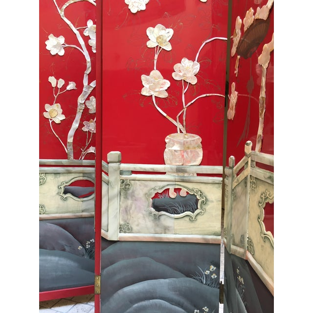 Vintage Red Lacquered Chinese Screen - Image 6 of 11