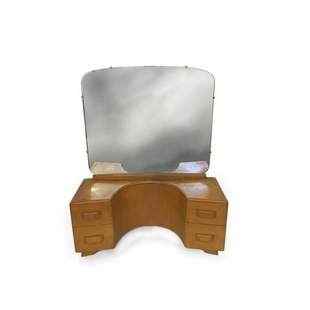1940s Vintage Mid Century Heywood Wakefield Riviera Vanity With Mirror & Pouff For Sale - Image 5 of 12