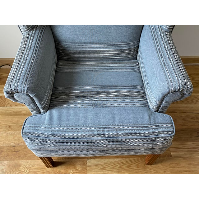 1970s Gray Stripe Wingback Chair For Sale - Image 4 of 9