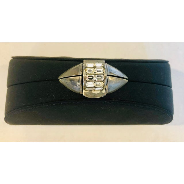 Art Deco Rodo Black Silk Crystallized Clutch With Gunmetal Hardware For Sale - Image 3 of 11
