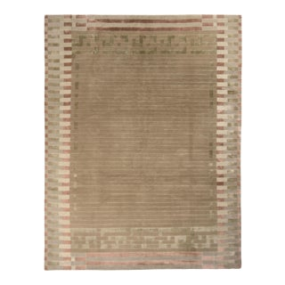 Hand-Knotted Austrian Art Deco Style Rug Beige Brown Green Pattern by Rug & Kilim For Sale