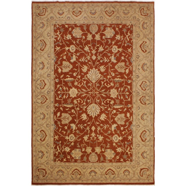 Brick Red Kafkaz Peshawar Barbar Rust/Gold Wool Rug -8'11 X 12'9 For Sale - Image 8 of 8