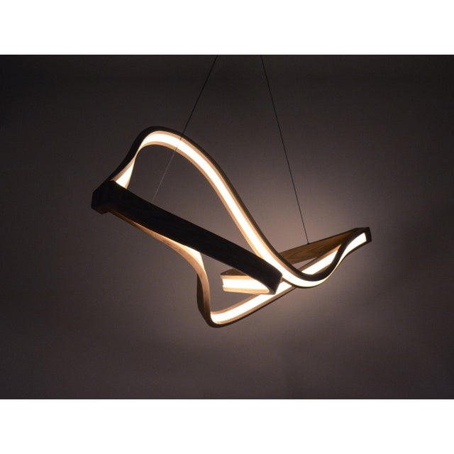 Mid-Century Modern Tangle Curved Wooden Pendant Light With Intertangled Arms For Sale - Image 3 of 7