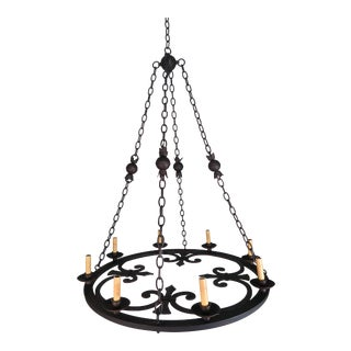 Eight-Light Spanish Wrought Iron Chandelier For Sale