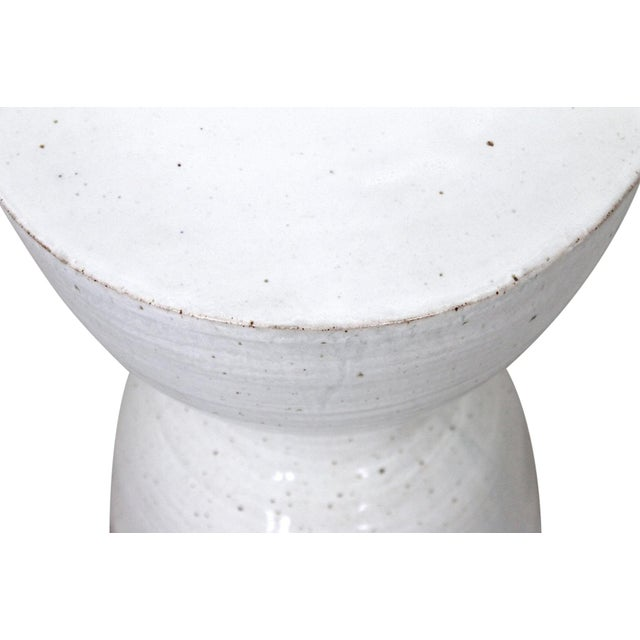 White Large Tariki Ceramic Stool For Sale - Image 8 of 12