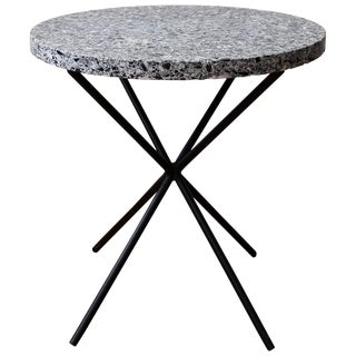 Black Terrazzo and Iron Side Table, 1950s For Sale