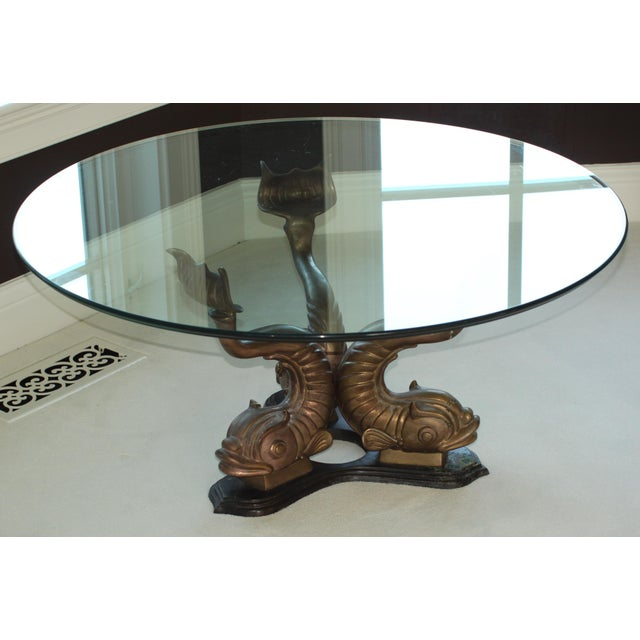 1960s Hollywood Regency Brass Koi Coffee Table For Sale - Image 5 of 8
