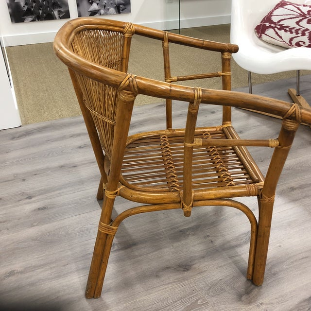 4 Vintage Midcentury Rattan Chairs For Sale - Image 4 of 9