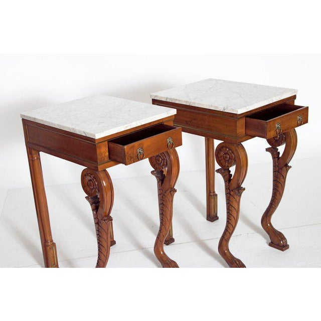 Mid 19th Century A Pair of Charles X Style Mahogany Tables With White Marble Tops For Sale - Image 5 of 13