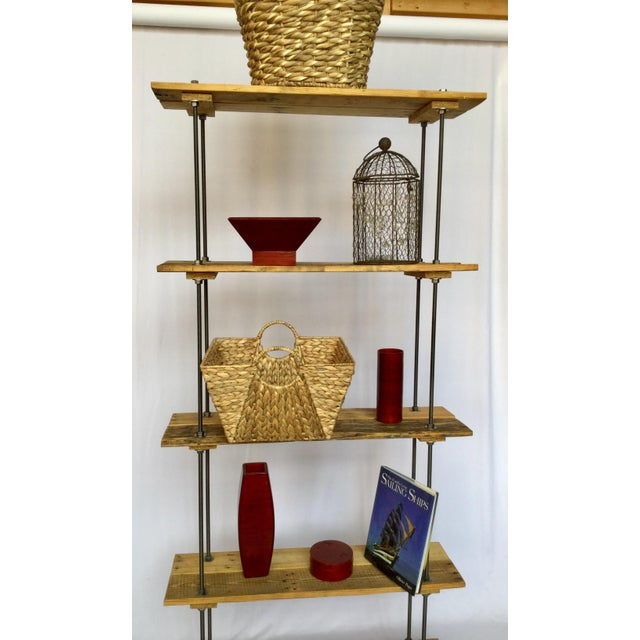 Metal Industrial Tall Recycled Wood and Metal Rod Adjustable Bookcase Shelf For Sale - Image 7 of 12