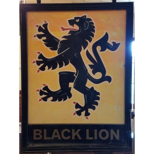 """Double-Sided, Hand Painted Metal UK Pub Sign - """"Black Lion"""" For Sale - Image 13 of 13"""