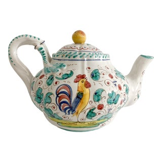 Italian Majolica Perugia Hand Painted Faience Teapot For Sale