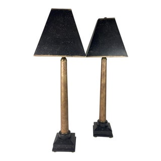 Vintage Black and Gold Buffet Lamps - a Pair For Sale