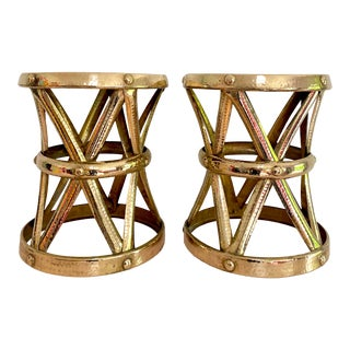 Mid Century Hollywood Regency Polished Brass Drum Tables, a Pair For Sale